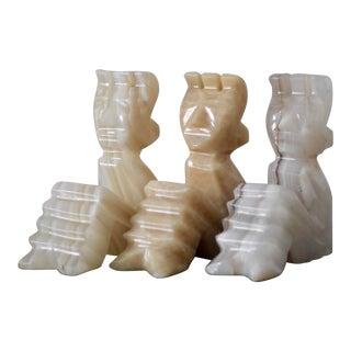 1970s Vintage Mayan Onyx Mini Sculptures - Set of 3 For Sale