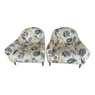 Modern Floral Accent Chairs - A Pair For Sale