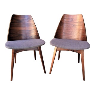 Rare Mid-Century Walnut Foster McDavid Shell Back Chairs - a Pair
