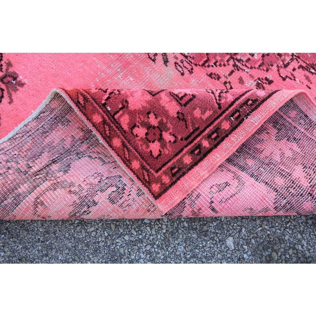 """Distressed Hot Pink Turkish Overdyed Rug - 5' X 7'10"""" - Image 5 of 5"""