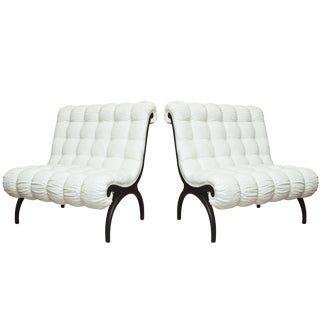 1960s Vintage Grosfeld House Tufted Sculptural Lounge Chairs- A Pair For Sale