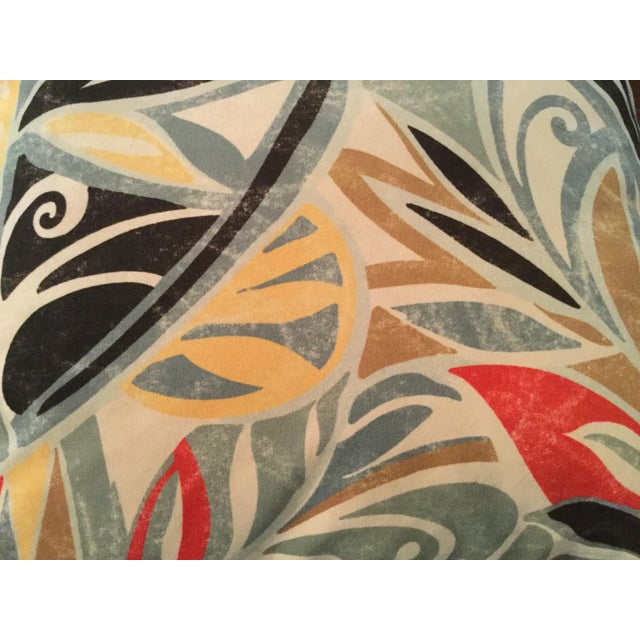 A pair of printed ultra-suede pillow in a cool mid-century modern motif. Backs are a nice heavy cotton duck with three...