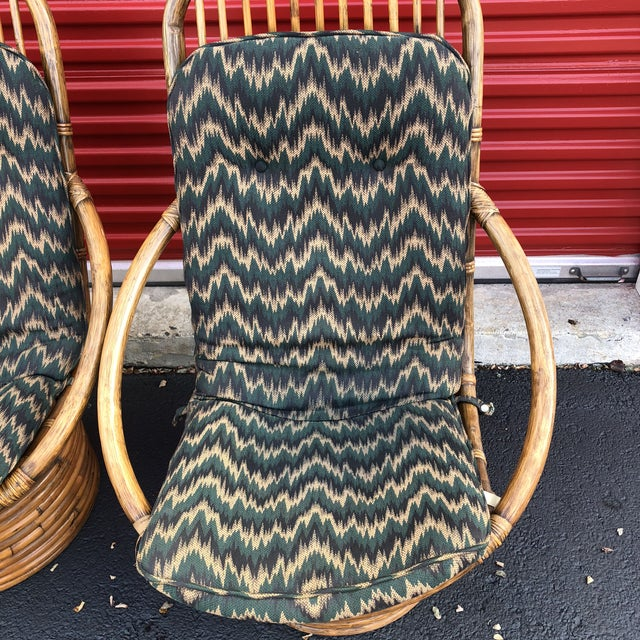 1960s Anglo-Indian Rattan Swivel Lounge Chairs - a Pair For Sale - Image 10 of 13
