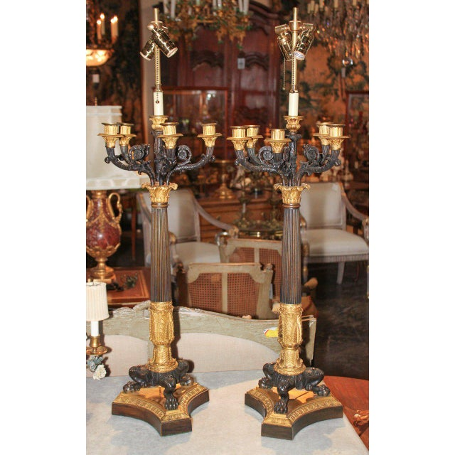 Large Pair of 19th C. French Empire Candelabra For Sale In Dallas - Image 6 of 7