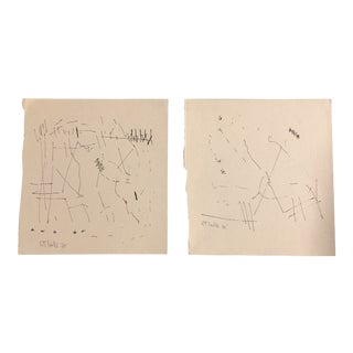 Original Vintage 1970's Robert Cooke Abstract Ink Line Drawings - a Pair For Sale