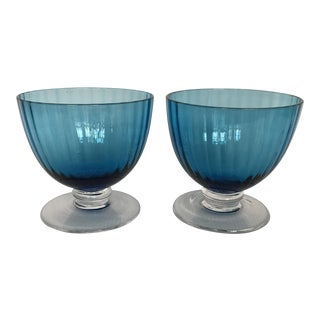 Blue Glass Footed Dessert Cups - A Pair