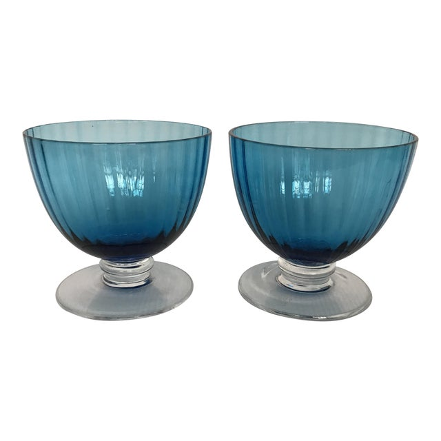 Blue Glass Footed Dessert Cups - A Pair For Sale