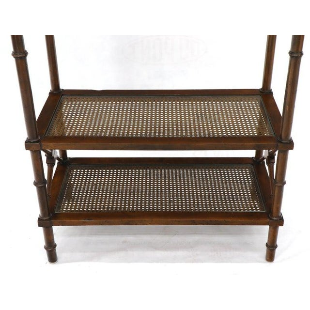 1970s X Stretchers Faux Bamboo Cane and Glass Shelves Étagère Shelves For Sale - Image 5 of 13