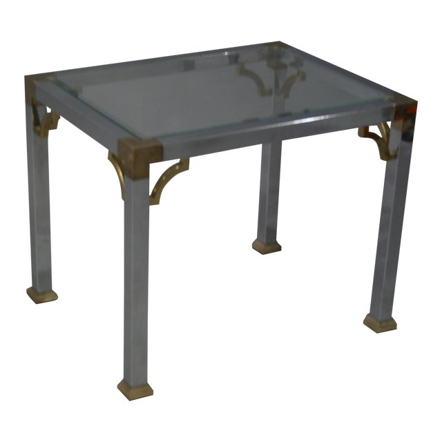 Mastercraft Chrome Brass Chinoiserie Side Table - Image 1 of 9