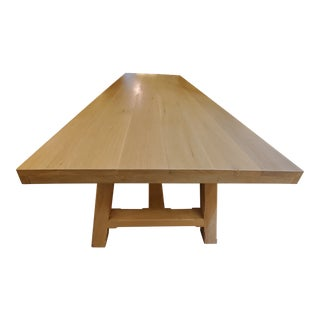 Contemporary Oak Trestle Dining Table For Sale