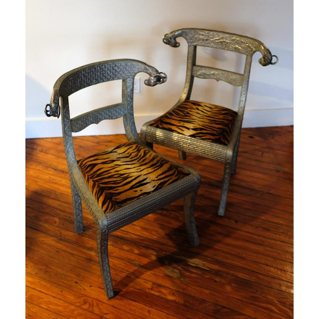 Late 20th Century Antique Anglo-Indian Silvered Wrapped Wood Side Chairs - a Pair For Sale - Image 5 of 6