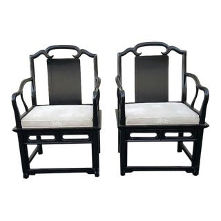Vintage Hollywood Regency Asian James Mont Style Black Lacquered Arm Chairs - a Pair For Sale