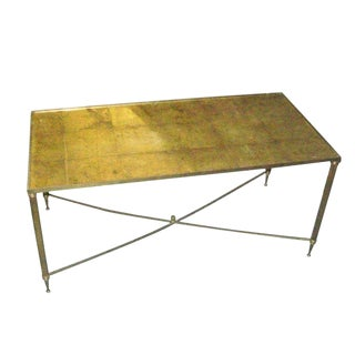 Brass Coffee Table With Gold-Leafed Glass Top For Sale
