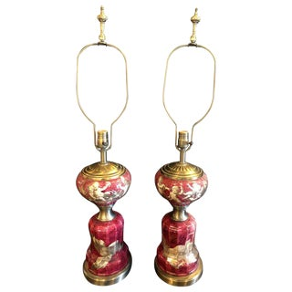 Neoclassical Cranberry Glass Decoupage Cherub Decorated Table Lamps - a Pair For Sale