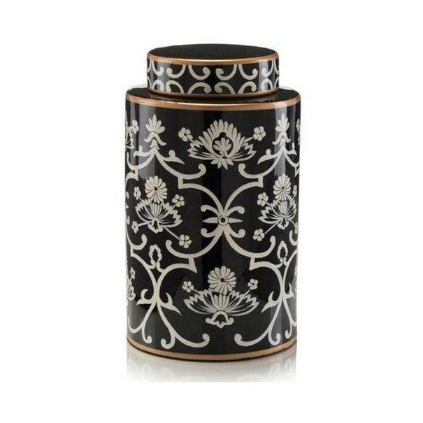 John Richard Floral Black & White Jar - Image 4 of 4