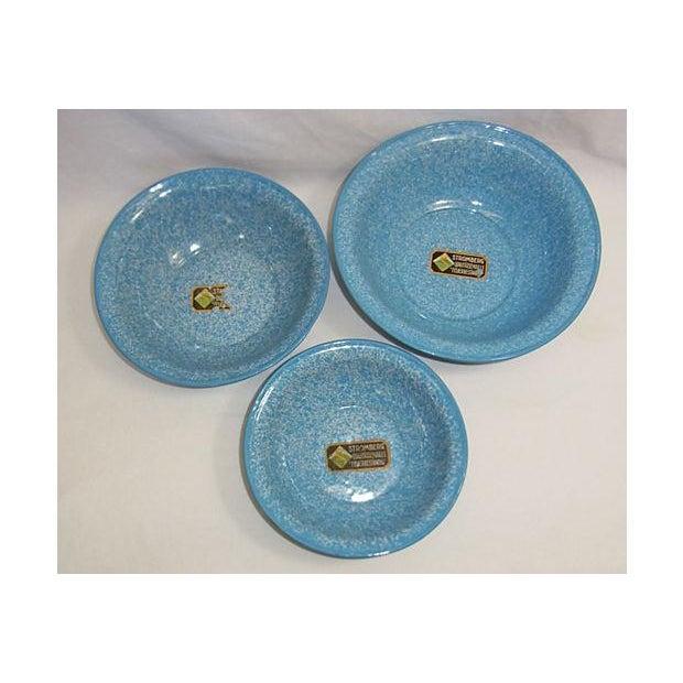 Vintage Light Blue German Enamel Bowls - Set of 3 - Image 2 of 4