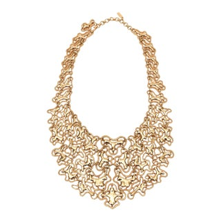 Monet Textural and Polished Vintage Gold Tone Abstract Sculptural Bib Necklace For Sale