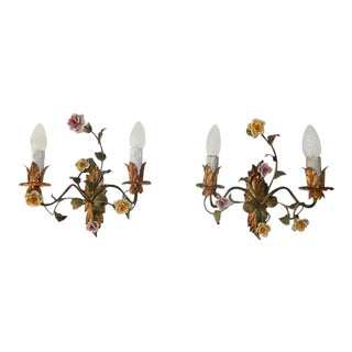 19th Century Italian Tole and Porcelain Roses Polychrome Sconces For Sale