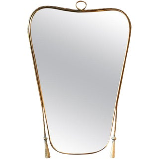 Italian Curvilinear Brass Mirror, 1950s For Sale