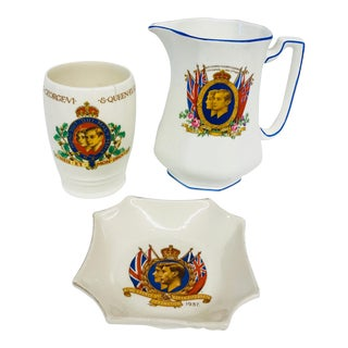 King George VI & Queen Elizabeth Coronation China - Set of 3