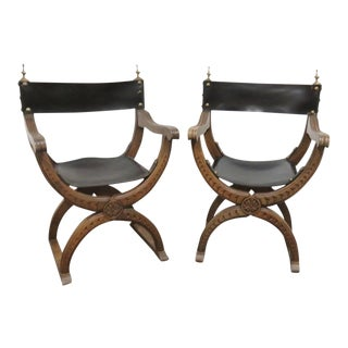 Leather Carved Curule Savonarola Chairs- a Pair For Sale