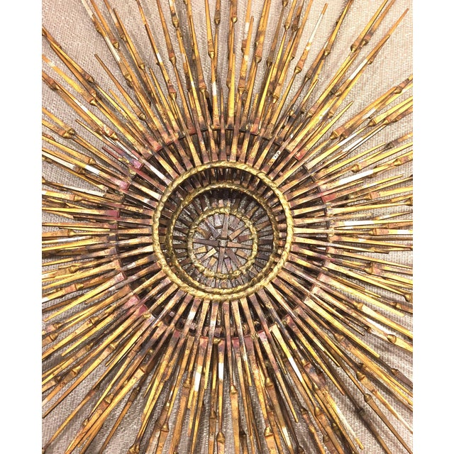 American post-war design gilt metal wall sunburst signed by William Bowie, circa 1970s.