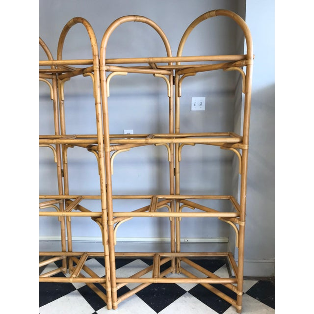 Glass Palm Beach Style Rattan Shelving Unit For Sale - Image 7 of 12