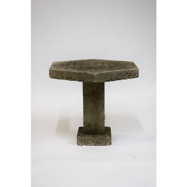Industrial Hexagonal Concrete Game Table For Sale - Image 3 of 3