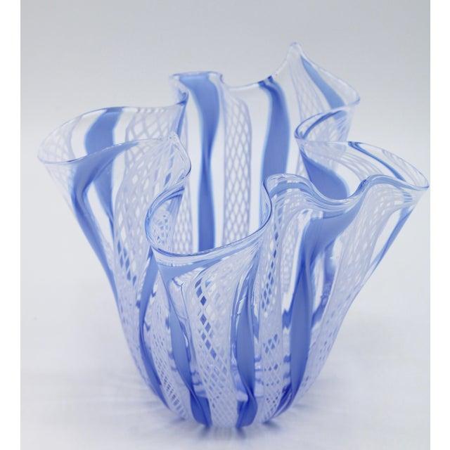 Murano Mid Century Italian Murano Glass Blue Latticino Large Handkerchief Vase and Murano Zanfirico Latticino Glass Dish - Set of 2 For Sale - Image 4 of 10