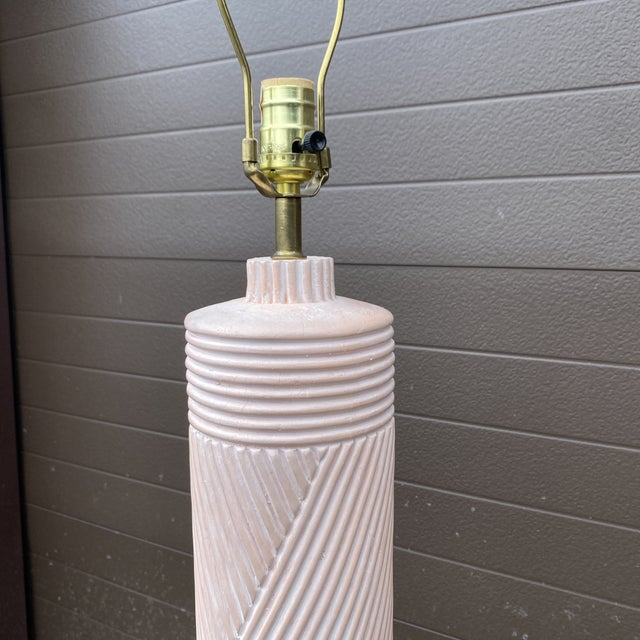 1980s Pink Reeded Plaster Floor Lamp For Sale - Image 11 of 13