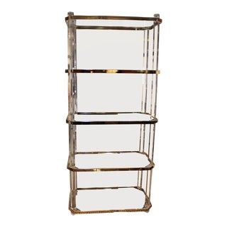 Lucite and Brass Vintage Etagere For Sale