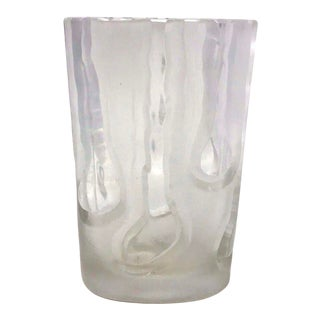 Thick Incised Raindrops Art Glass Vase For Sale
