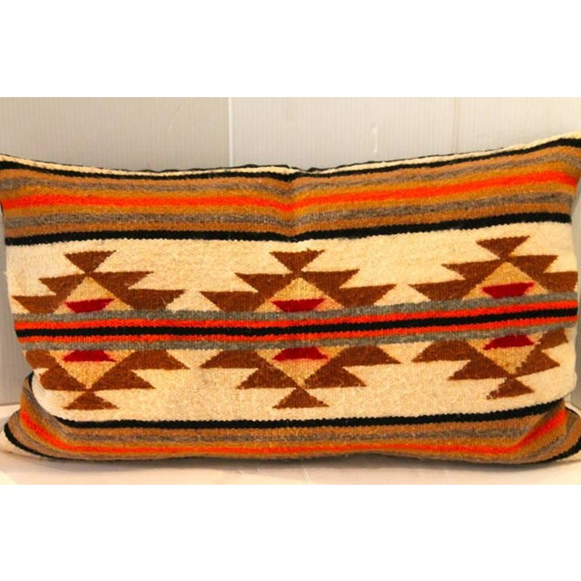 Native American Navajo Indian Weaving Geometric Bolster Pillow For Sale - Image 3 of 5
