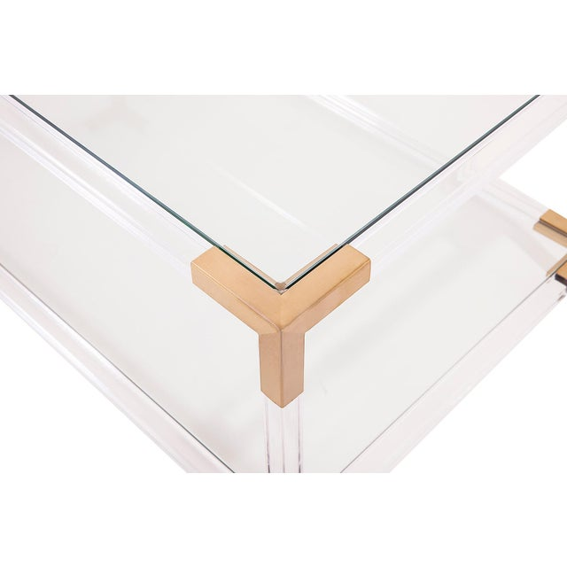 Hollywood Regency Gold & Acrylic Frame Coffee Table With Glass Shelves For Sale - Image 3 of 4