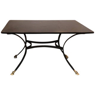 1970s French Black Glass and Wrought Iron Dining Table For Sale