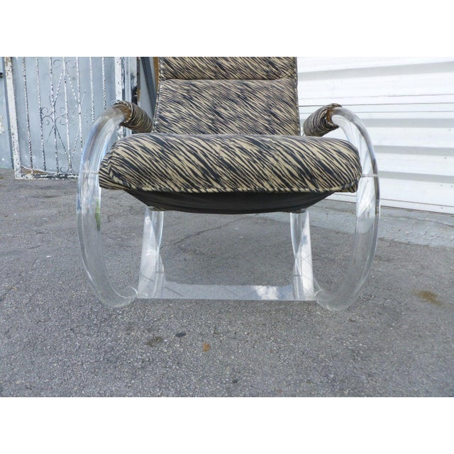 Fabric 1970's Vintage Hollis Jones Lucite Rocking Chair For Sale - Image 7 of 9