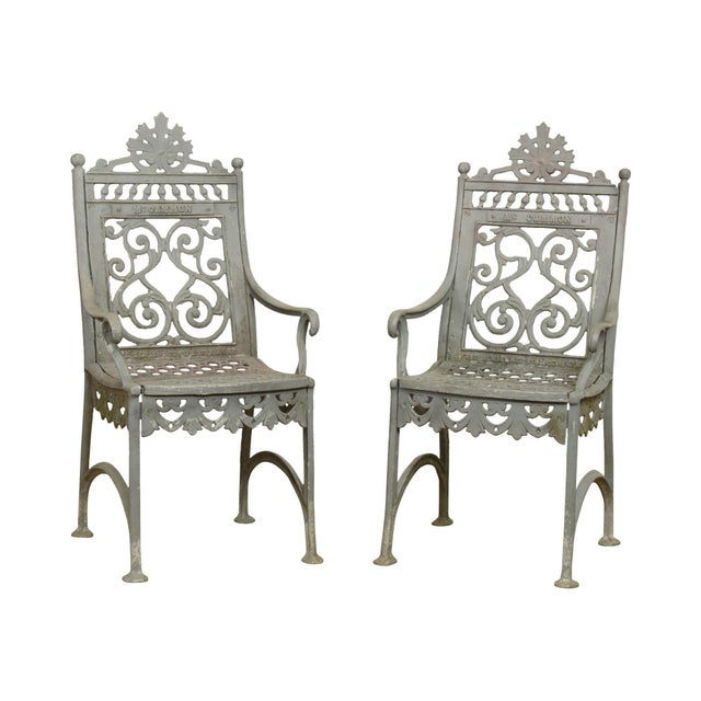 Antique Cast Iron Pair of Garden Cemetery Armchairs, Fred Gensel & Co. For Sale - Image 13 of 13