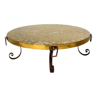 Vintage Round Brass Eglomise Cocktail Table For Sale