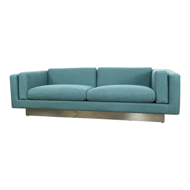 Modern Sofa With New Upholstery & a Chrome Plinth Base by Metropolitan Furniture For Sale
