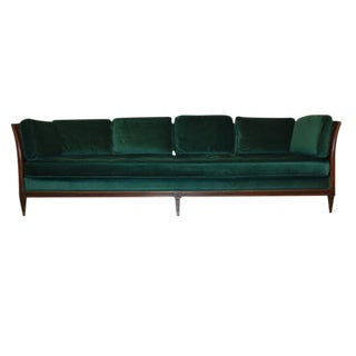 Antique French Green Velvet & Cane Wood Sofa For Sale