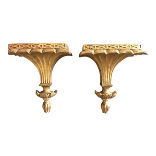 Italian Gold Leafed Wall Brackets With Acanthus Detail - a Pair For Sale