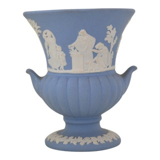 Antique Wedgwood Jasperware Blue & White Urn Vase England Miniature