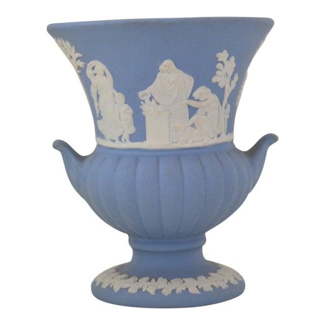 Antique Wedgwood Jasperware Blue & White Urn Vase England Miniature For Sale