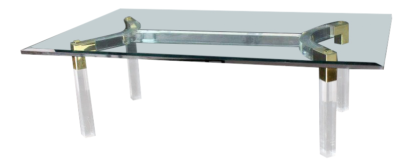 Thick Bent Lucite Brass Base Glass Top Large Rectangular Coffee Table For  Sale
