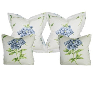 English Chintz Blue and White Pillows - Set of 4