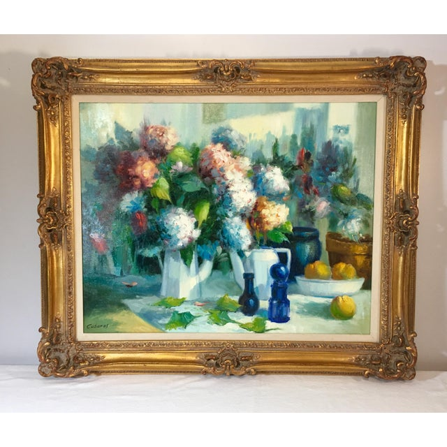 Vintage Still Life With Flowers Oil Painting by Manuel Cuberos For Sale - Image 12 of 12