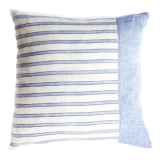 Woven Stripe and Color Blocked Pillow Cover For Sale