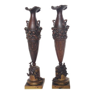 Bronze Putti Vases / Candleholders - Pair For Sale