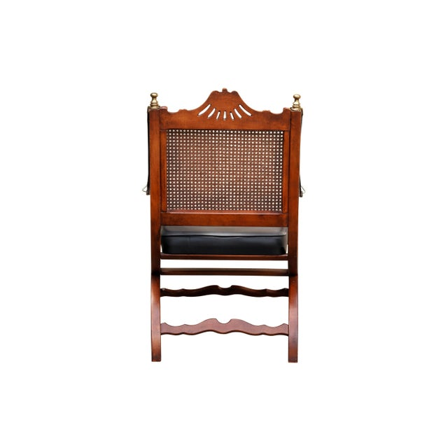 Italian Caned Leather Campaign Chairs - a Pair For Sale - Image 4 of 10