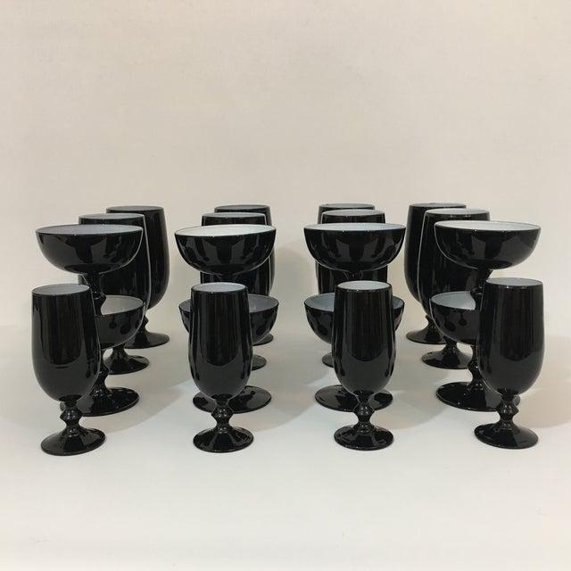 Vintage Carlo Moretti Black and White 20 Piece Glassware Set For Sale - Image 13 of 13